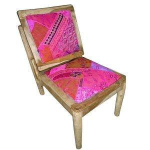 Stoel roze patchwork