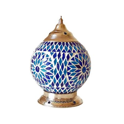 Tafellamp blauw wit glasmozaïek turkish design