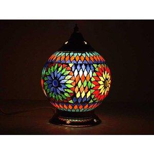 Kleurrijke tafellamp glasmozaïek multi colour turkish design