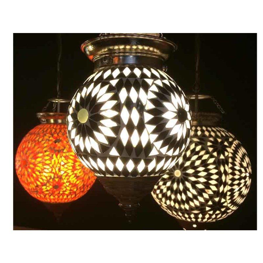 Glas mozaïek hanglamp zwart wit.
