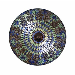 plafonniere mozaïek blauw kraal sfeerverlichting