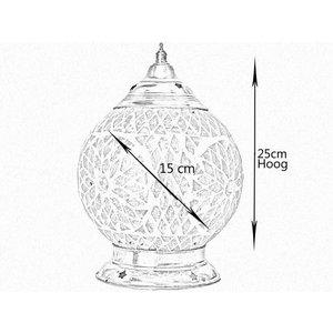 Oosterse tafellamp glasmozaïek zwart wit turkish design