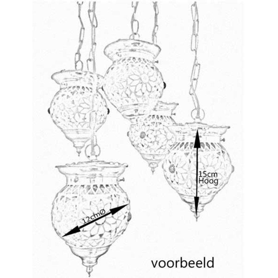 5 bol hanglamp transparant beads&triangles