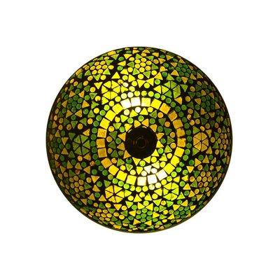 Oosterse plafonnière glasmozaïek groen geeft helder licht