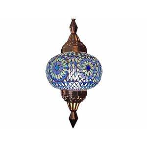 Oosterse hanglamp mozaïek sprankelend blauw turkisch design