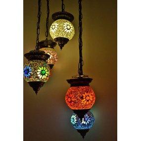 Hanglamp 5 bol kleurrijk