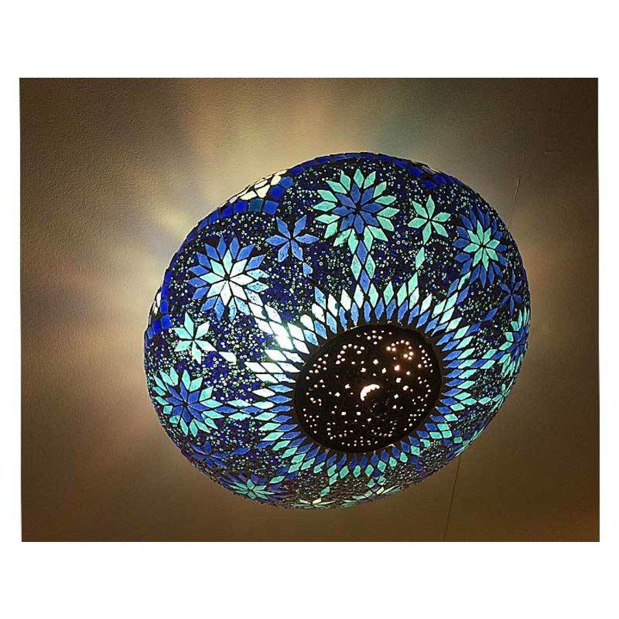 Blauwe mozaiek plafonnière met iron