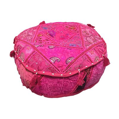Kleurrijke poef roze rond handgemaakt uit India met kwasten