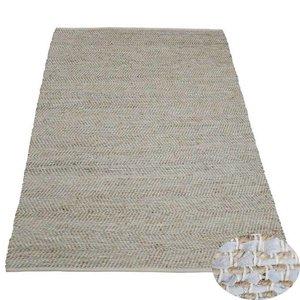 Vloerkleed wit leer met jute 2 x 3 meter