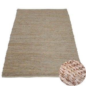 Vloerkleed beige leer en jute 160 x 230 cm