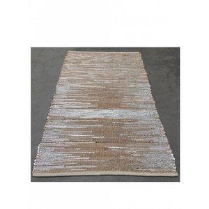 Vloerkleed zilverkleurig leer met jute 160 x 30 cm