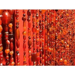 Glaskralengordijn rood