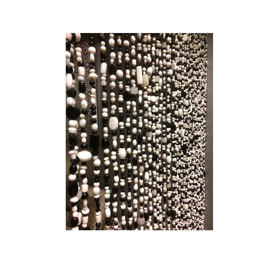 Glaskralengordijn zwart wit