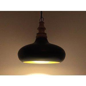 Metalen hanglamp met hout