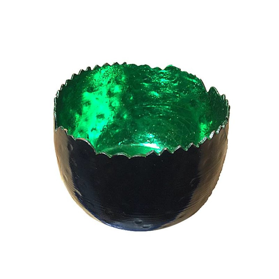 Mat zwart Waxinelicht met groene binnenkant
