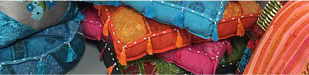 Kussens India handgemaakt van oude sari stoffen