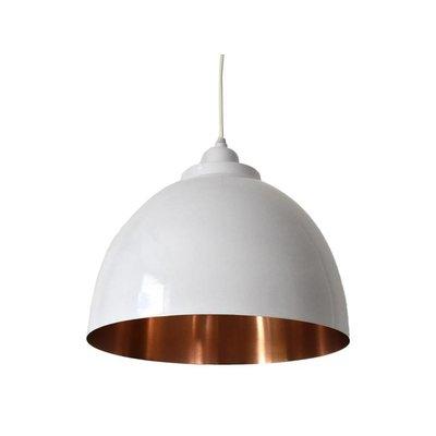 Witte open hanglamp met koperen binnenkant