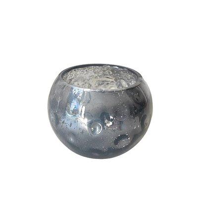 Waxinelicht grijs glas robuust