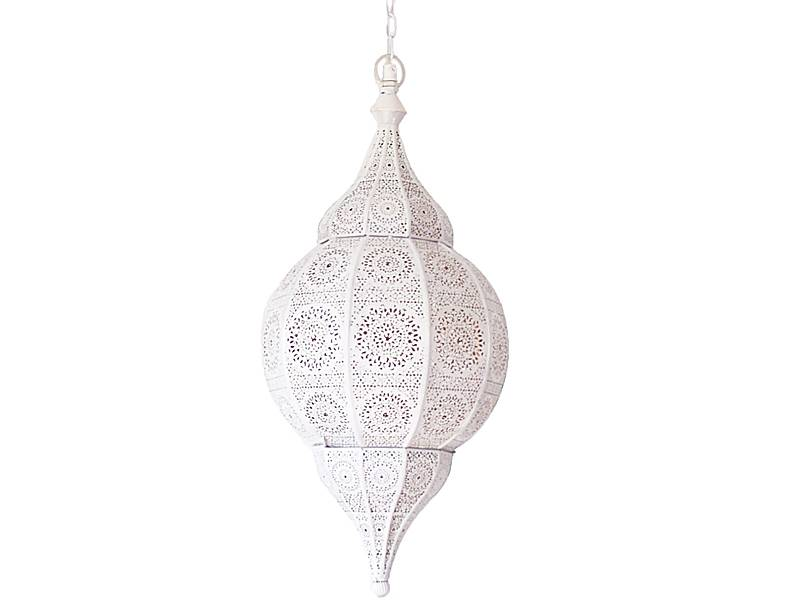 Witte hanglamp met koperen binnenkant