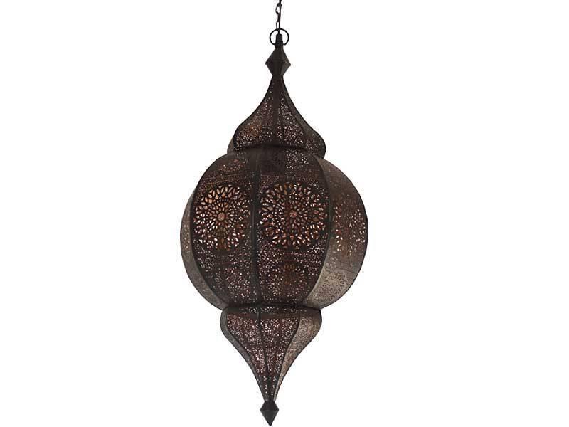 Zwarte hanglamp met koperen binnenkant