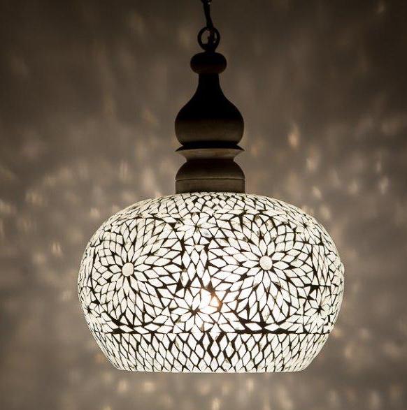 mozaiek hanglamp met hout
