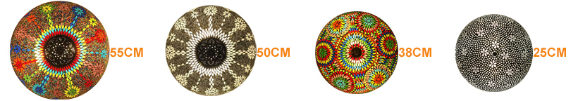 Maten van kleurrijke plafondlampen
