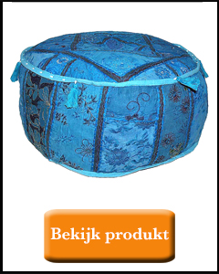 Hoge poef patchwork blauw