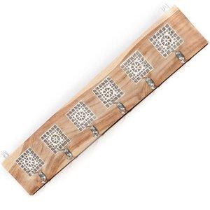Kapstok van hout met mozaiek transparant