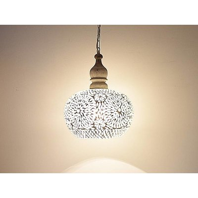 Hanglamp transparant mozaiek met hout