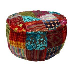Ronde kleurrijke poef patchwork