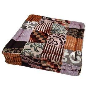 Loungekussen bruin paars patchwork
