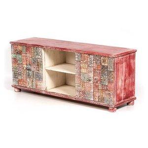 Tv meubel met mooi houtsnij werk kleurrijk rood