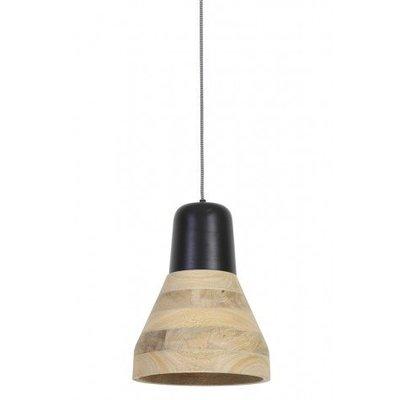 Hanglamp van hout naturel en zwart hout