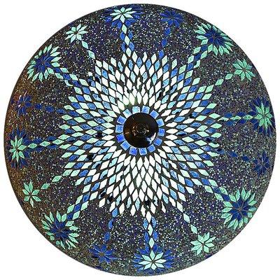 Plafonnière blauw kraal glasmozaïek mooie oosterse lamp
