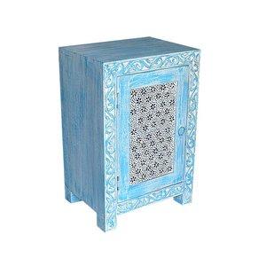 Nachtkastje blauw bloemen