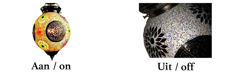 Design hanglamp aan uit en close up