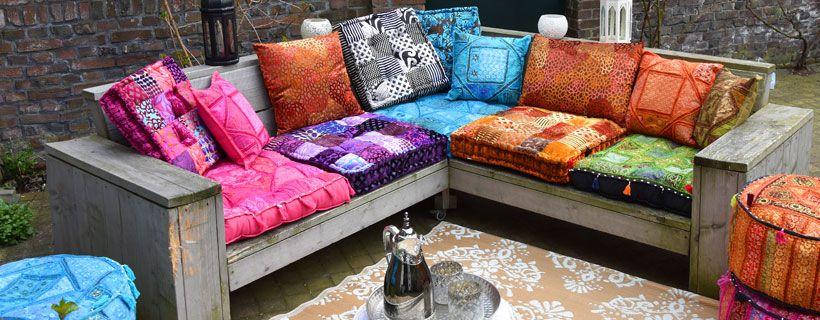 Idee voor buiten een buitenkleed voor balkon en tuin - Opslag idee lounge ...