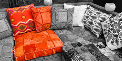 Oranje patchwork kussens