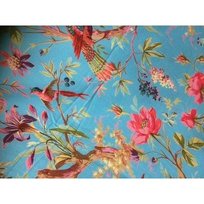 Blauwe hammamdoek met kleurrijke print