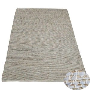 Vloerkleed wit leer en jute 80 x 140 cm