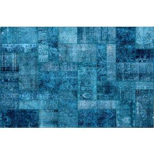 Bohemian set transparante plafonniere met blauwe badmat