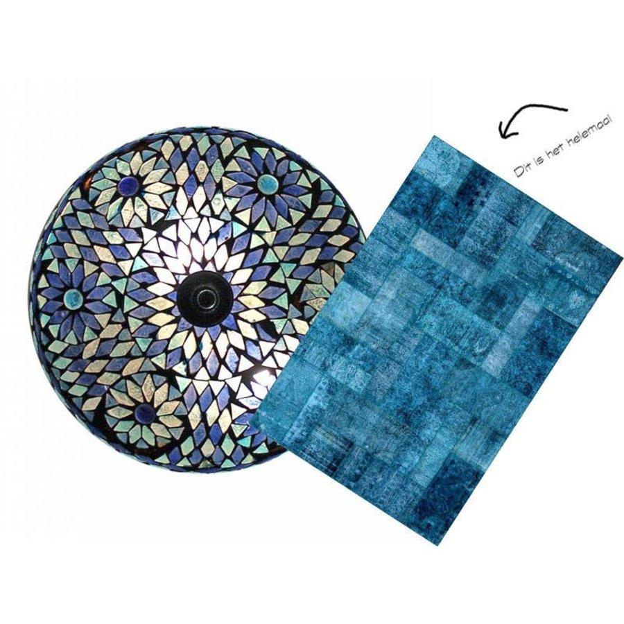 Moederdag tip, aanbieding blauwe plafonniere met badmat