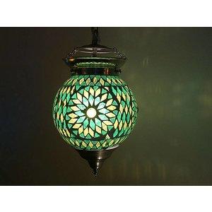 Oosterse hanglamp glasmozaïek groen turkish design