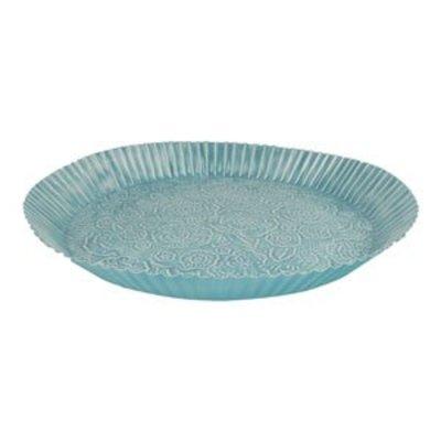 Blauwe oosterse tray met bloem design