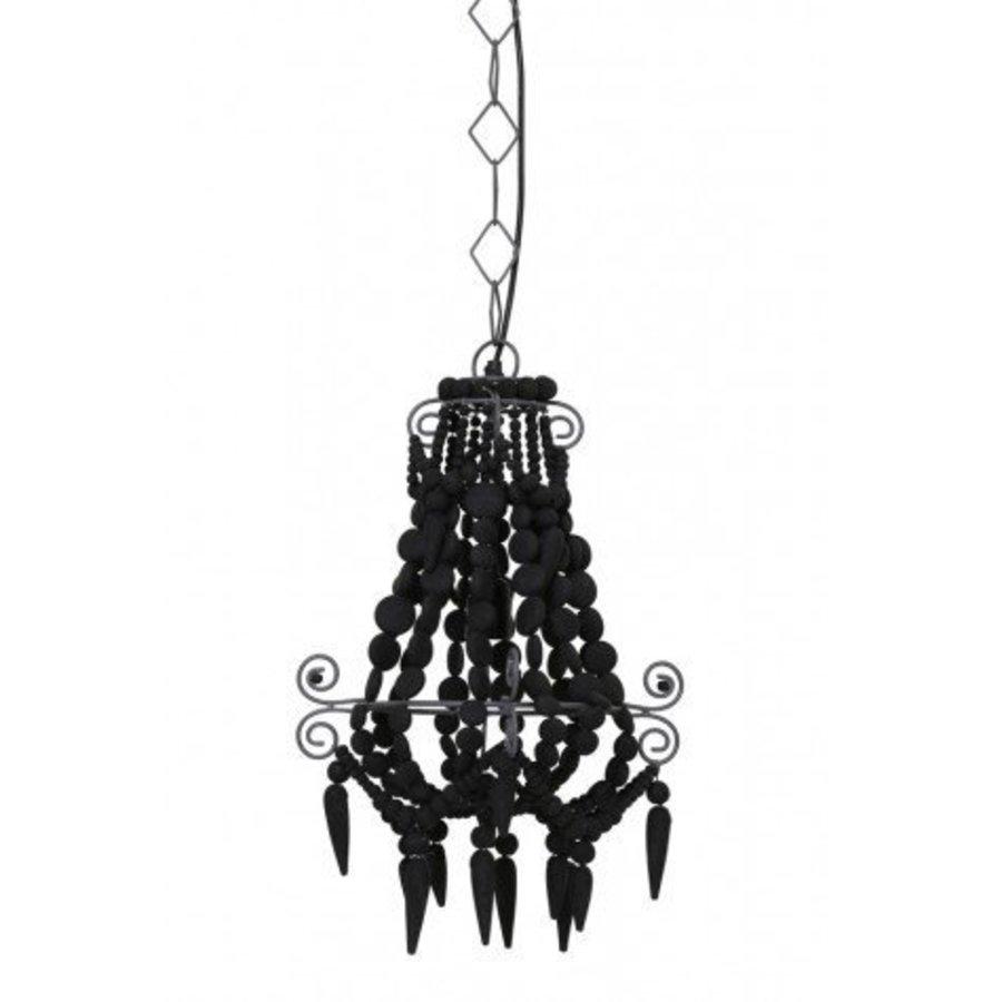 Zwarte kralen hanglamp hout
