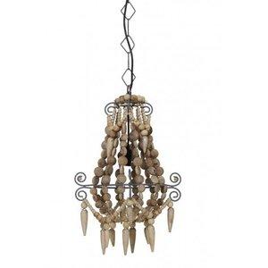 Hanglamp naturel kralen hout