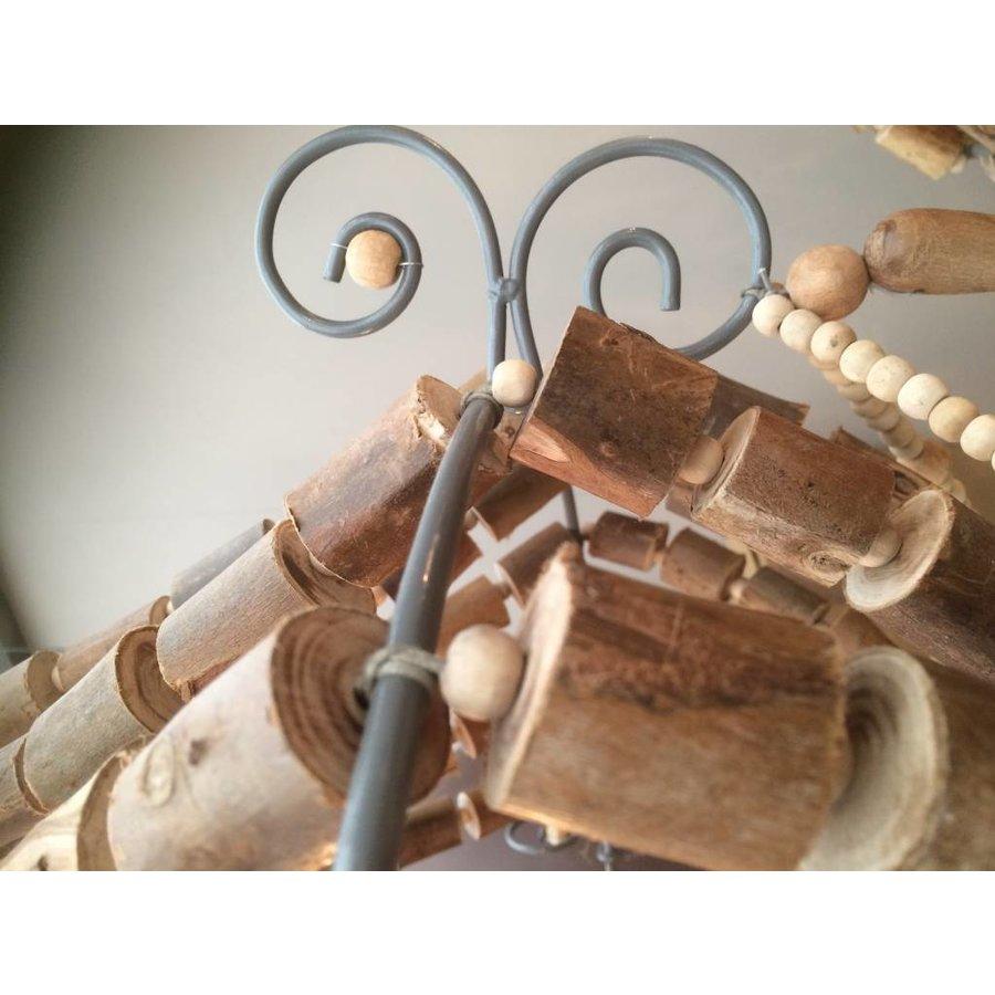 Houten kralen kroonluchter naturel