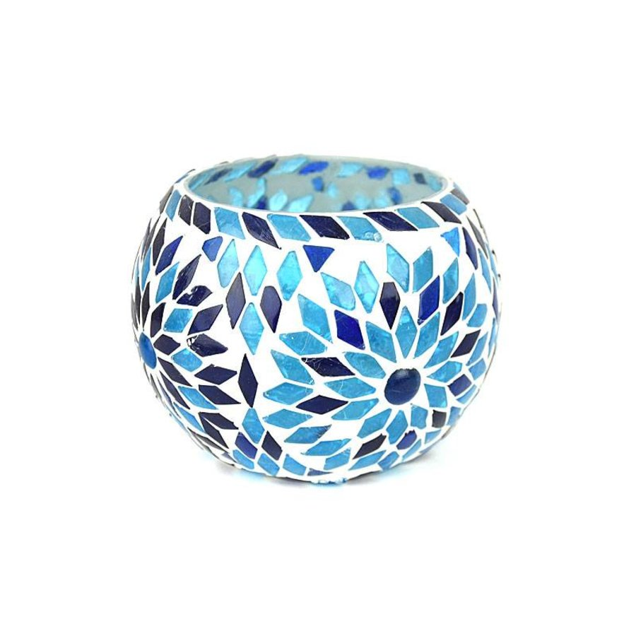 Waxinelichthouder mozaïek blauw turkisch design