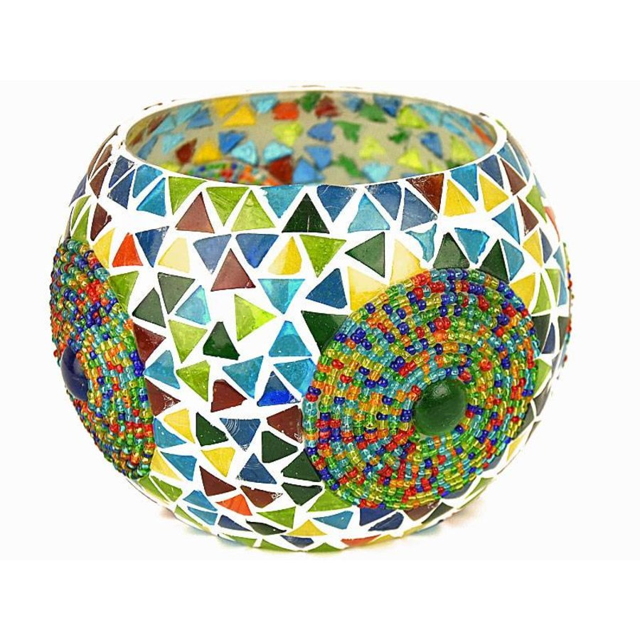 Waxinelichthouder beads en triangle multi colour