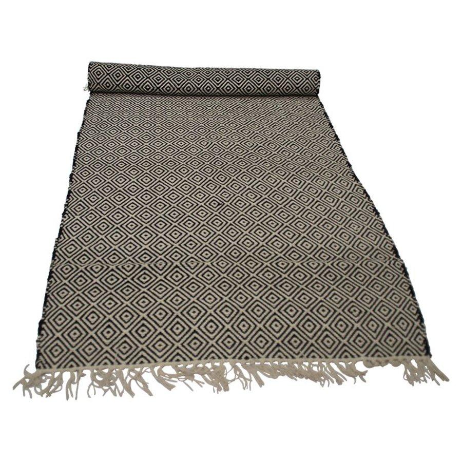 Zwart wit vloerkleed geweven uit India